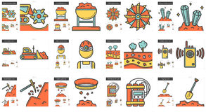 Het pictogramreeks van de de industrielijn vector illustratie