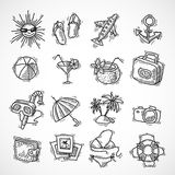 Het pictogramreeks van de de zomervakantie Royalty-vrije Stock Foto