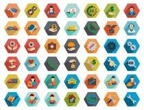 Het Pictogramreeks van de dienst Hexagon Vlakke Longshadow Glyph Stock Afbeelding