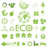 Het pictogramreeks van de ecologie. Eco-pictogrammen Stock Afbeelding