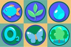 Het pictogramreeks van de ecologie Vectoreco-illustraties Zuivere daling van water, zuurstof, groen bos, het groeien installatie Stock Afbeelding