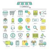 Het pictogramreeks van de elektronische handel Pictogrammen van de kleuren de moderne lijn voor zaken, Webontwikkeling en landend Royalty-vrije Stock Foto's