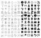 Het pictogramreeks van de energie en van het middel Stock Afbeelding