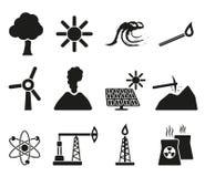 Het pictogramreeks van de energie en van het middel Royalty-vrije Stock Afbeeldingen