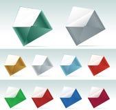 Het pictogramreeks van de envelop. Stock Foto