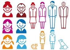 Het pictogramreeks van de familie,   vector illustratie