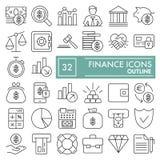 Het pictogramreeks van de financiënlijn, de inzameling van geldsymbolen, vectorschetsen, embleemillustraties, onderwatertekens li stock illustratie