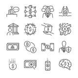 Het pictogramreeks van de Fintechlijn Omvatte de pictogrammen als blockchain, robo-adviseurs, de cashless maatschappij, het crowd Stock Afbeelding