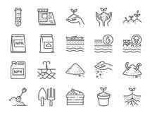 Het pictogramreeks van de grondlijn Omvatte de pictogrammen als aarde, compost, land, vuil, grond en meer stock illustratie
