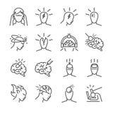 Het pictogramreeks van de hoofdpijnlijn Omvatte de pictogrammen als Spanningshoofdpijnen, Clusterhoofdpijnen, Migraine, hersenens Stock Afbeelding