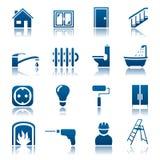 Het pictogramreeks van de huisreparatie Stock Foto