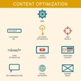 Het pictogramreeks van de inhoudsoptimalisering Stock Foto's