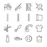 Het pictogramreeks van de kledingstuk vectorlijn Omvatte de pictogrammen aangezien de naald, stof, naald en meer naait vector illustratie
