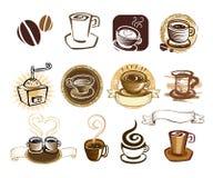 Het pictogramreeks van de koffie. Stock Afbeelding