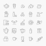 Het pictogramreeks van de koffielijn Stock Fotografie