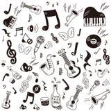 Het pictogramreeks van de krabbelmuziek Stock Afbeeldingen