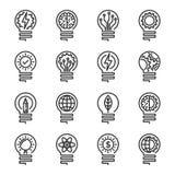 Het pictogramreeks van de Lightbulb dunne lijn Editableslag Vectorillustrati Stock Foto's