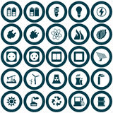 Het pictogramreeks van de macht en van de energie Stock Afbeeldingen