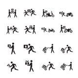 Het pictogramreeks van de mensenkoerier Stock Foto's