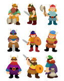 Het pictogramreeks van de Piraat van Viking van het beeldverhaal Stock Afbeeldingen