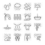 Het pictogramreeks van de regen vectorlijn Omvatte de pictogrammen als regen, paraplu, water, waterdaling en meer royalty-vrije illustratie