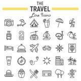 Het pictogramreeks van de reislijn, de inzameling van toerismesymbolen royalty-vrije illustratie
