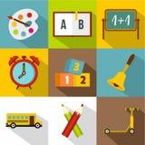 Het pictogramreeks van de schooltijd, vlakke stijl Stock Foto's