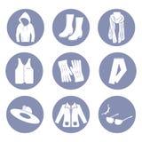 Het pictogramreeks van de schoonheidsmanier, de kledingswinter voor ontwerppresentatie binnen Royalty-vrije Stock Fotografie