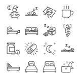 Het pictogramreeks van de slaaplijn Omvatte de pictogrammen als slapeloosheid, slapeloos, bed, bedtijd, sleepwalk, nacht, slaappi vector illustratie