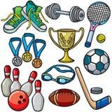 Het pictogramreeks van de sportuitrusting vector illustratie