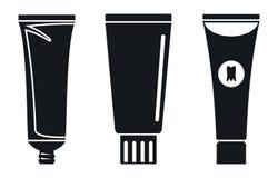 Het pictogramreeks van de tandpastabuis, eenvoudige stijl stock illustratie