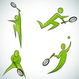 Het Pictogramreeks van de tennisspeler Stock Afbeelding