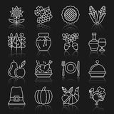 Het pictogramreeks van de thanksgiving day witte dunne lijn stock illustratie