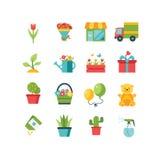 Het pictogramreeks van de tuin Stock Foto