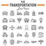 Het pictogramreeks van de vervoerslijn, vervoersymbolen stock illustratie