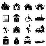 Het pictogramreeks van de verzekering Stock Foto