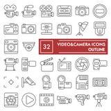 Het pictogramreeks van de Videocamera ondertekent de dunne lijn, de inzameling van camerasymbolen, vectorschetsen, embleemillustr vector illustratie