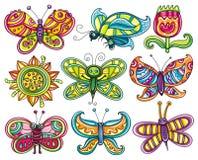 Het pictogramreeks van de vlinder. Stock Fotografie