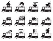 Het pictogramreeks van de voedselvrachtwagen Stock Afbeelding