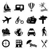 Het pictogramreeks van de vrije tijd, van de reis en van de recreatie Stock Foto