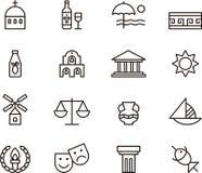 Het pictogramreeks van Griekenland Stock Fotografie