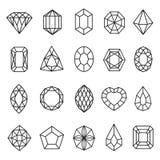 Het pictogramreeks van halfedelstenenlijnen, geometrische rotsdecoratie royalty-vrije illustratie