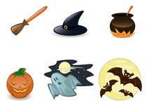 Het pictogramreeks van Halloween Stock Afbeeldingen