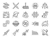 Het pictogramreeks van handelsoorlogen Inbegrepen pictogrammen als muntoorlog, Economische sancties, belasting, tarieven, muur, c Stock Afbeeldingen