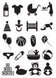 Het Pictogramreeks van het babymateriaal Royalty-vrije Stock Foto