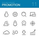 Het pictogramreeks van het bedrijfsbevorderings vectoroverzicht Royalty-vrije Stock Afbeeldingen