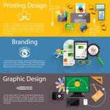 Het pictogramreeks van het brandmerkende, grafische en drukontwerp Stock Fotografie