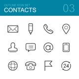 Het pictogramreeks van het contacten vectoroverzicht Stock Foto