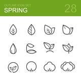 Het pictogramreeks van het de lente vectoroverzicht Stock Foto's