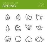 Het pictogramreeks van het de lente vectoroverzicht Stock Foto